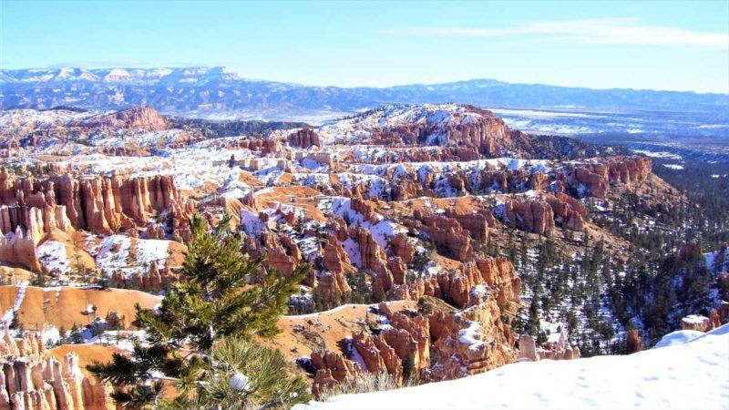 雪のかかったブライスキャニオンの風景