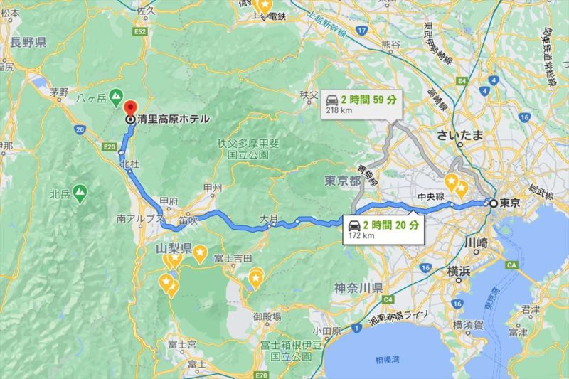 東京から清里高原ホテルまでの地図