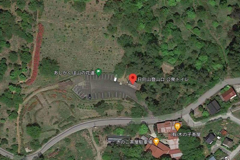 日向山登山口駐車場の衛生写真