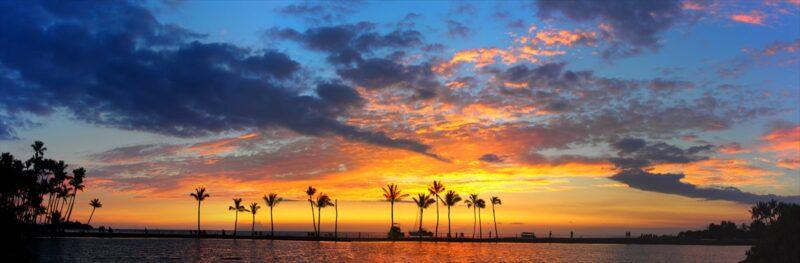 日没後の夕日の風景