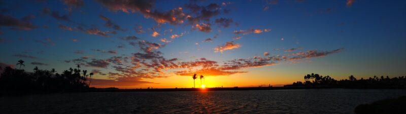 夕日のパノラマ風景