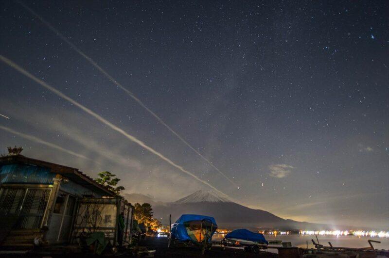 湖山荘キャンプ場からみた富士山の風景
